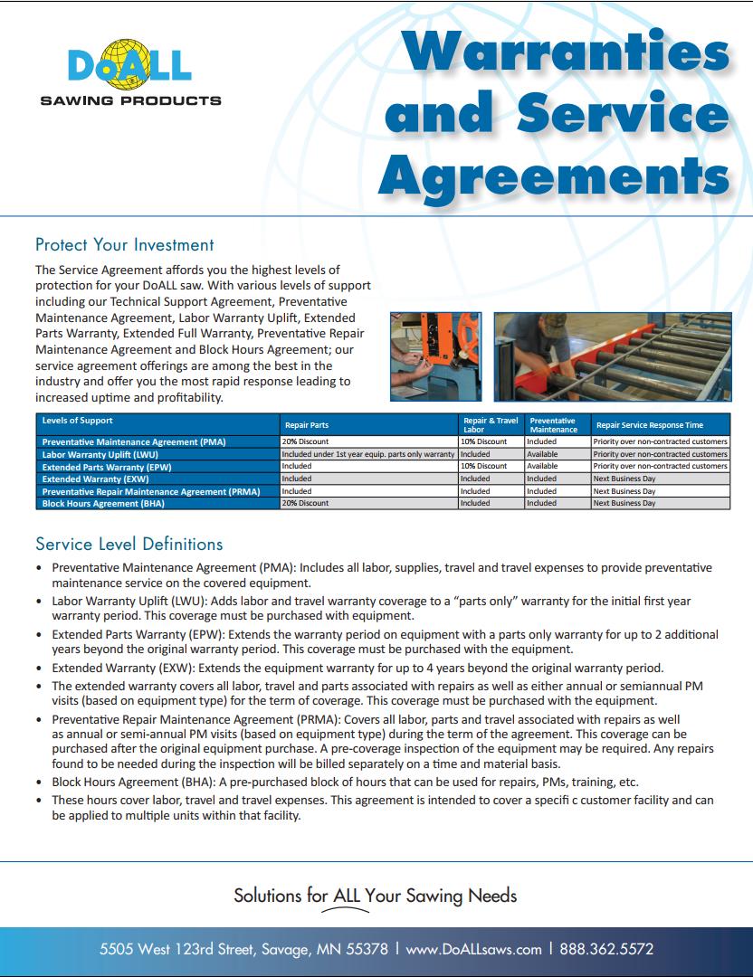 DoALL Saw Warranty Service Agreement Brochure